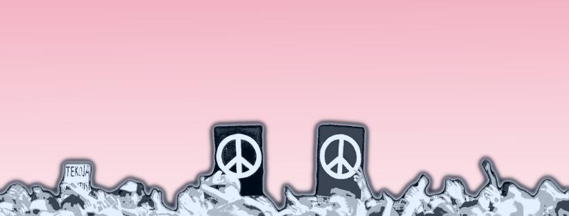 Rauhanmerkkejä vaaleanpunaisella taustalla
