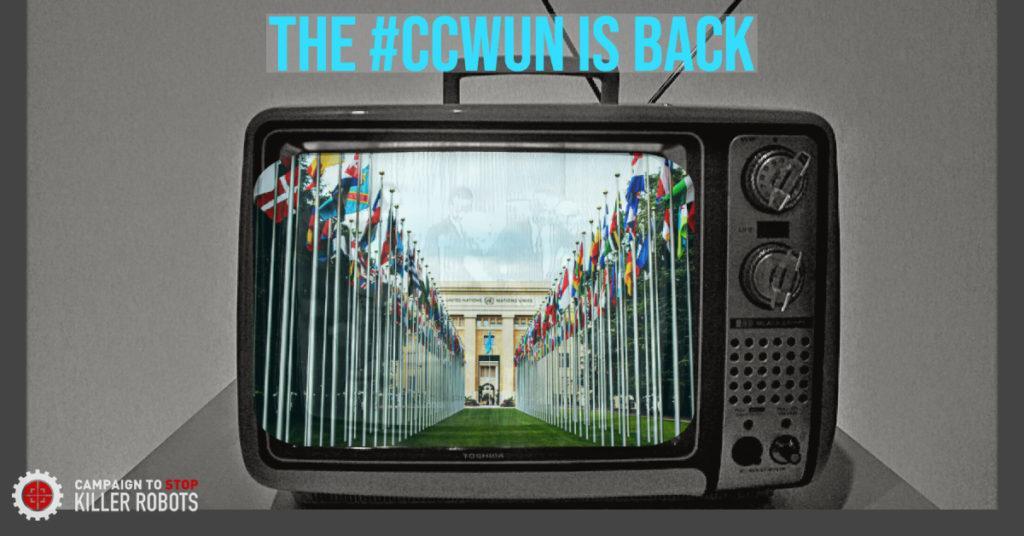 Televisioruudulla on valtioiden lippuja ja rakennus sekä teksti The #ccwun is back