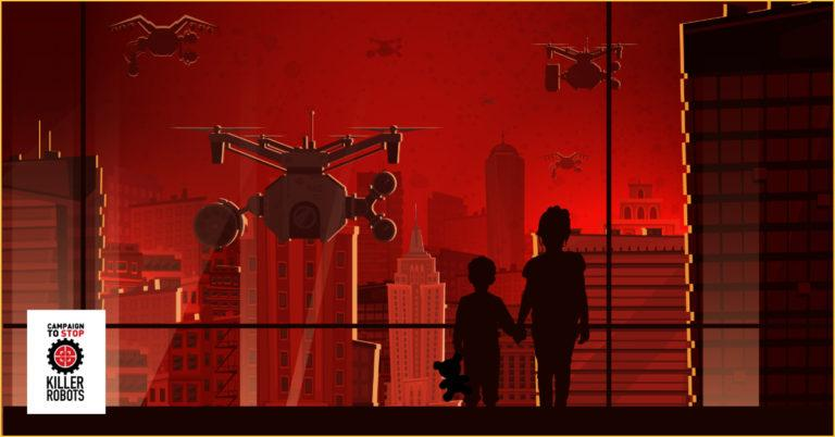 Droonit lentävät kohti ikkunaa, jonka takana on kaksi lasta.