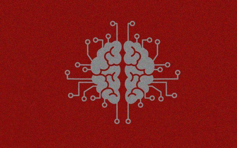 kuvituksena harmaa aivojen näköinen kuvio punaisella pohjalla